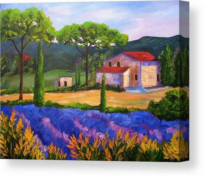 Landscape Canvas Print featuring the painting Tuscany Villa by Mary Jo Zorad