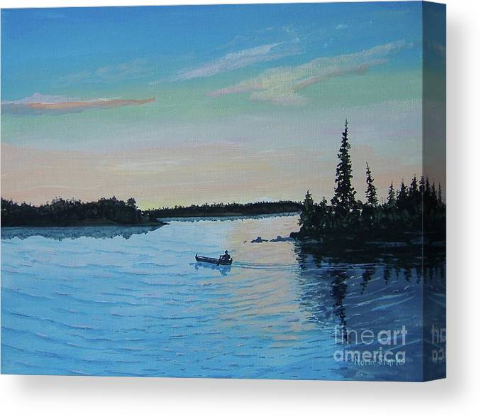 Northwoods Canvas Print featuring the painting Twilight's Last Gleaming by Norm Starks