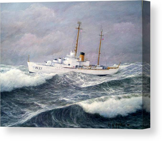 Ships Canvas Print featuring the painting U. S. Coast Guard Cutter Taney by William H RaVell III