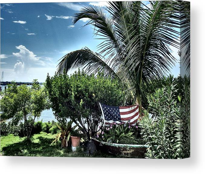 Amerian Flag Canvas Print featuring the photograph US Flag in the Abaco Islands, Bahamas by Cindy Ross