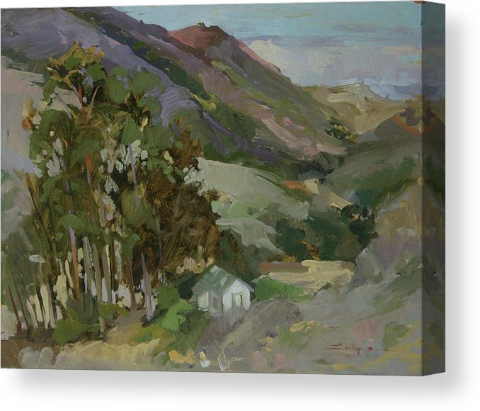 Pleinair Painting Canvas Print featuring the painting View From The Reservoir - Catalina Island by Betty Jean Billups