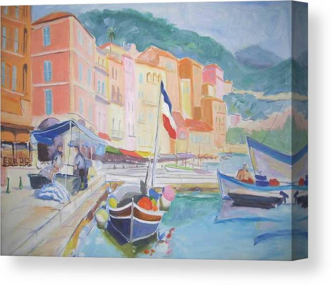 Oil Canvas Print featuring the painting Ville Franche Boat by Pixie Glore