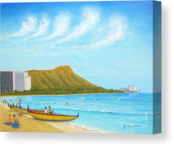 Waikiki Canvas Print featuring the painting Waikiki Wonder by Jerome Stumphauzer