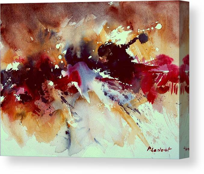 Abstract Canvas Print featuring the painting Watercolor 301107 by Pol Ledent