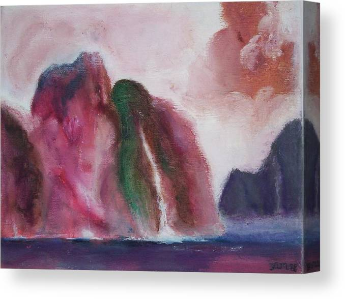 Abstract Painting Canvas Print featuring the painting Waterfull by Suzanne Udell Levinger