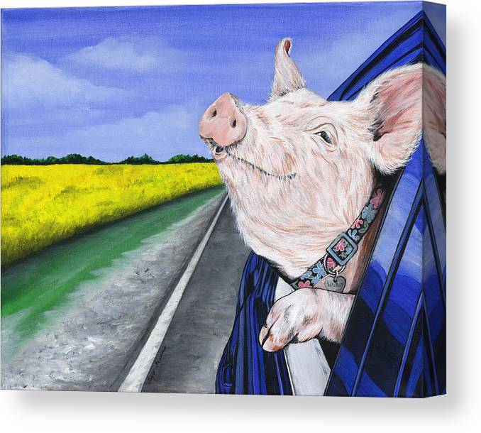 Pig Canvas Print featuring the painting Wilbur by Twyla Francois