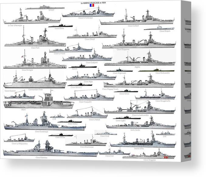 Ww2 Canvas Print featuring the drawing ww2 French Navy by The Collectioner