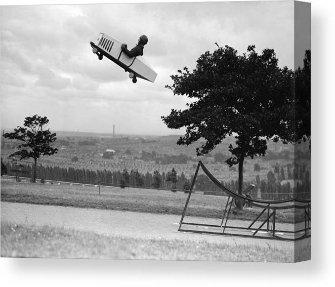 1930-1939 Canvas Print featuring the photograph Death Dive by Fox Photos