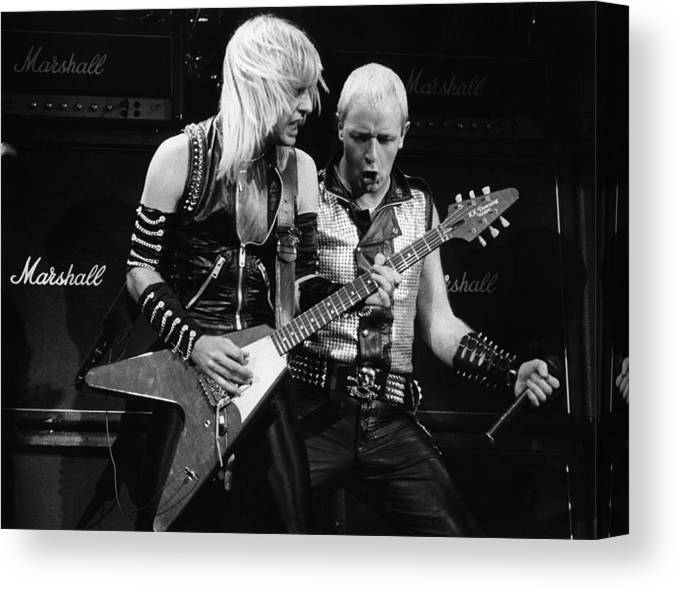 K.k. Downing Canvas Print featuring the photograph Photo Of Judas Priest And Rob Halford by Pete Cronin