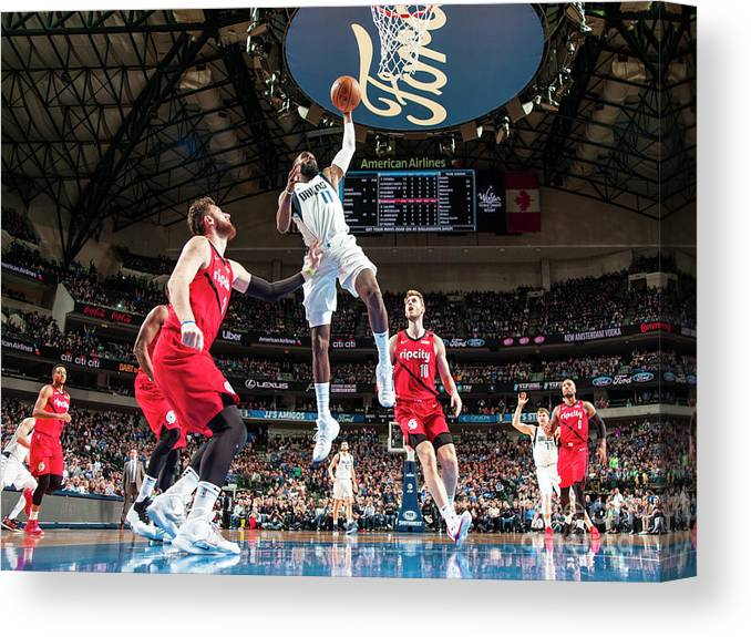 Tim Hardaway Jr. Canvas Print featuring the photograph Portland Trailblazers V Dallas Mavericks by Glenn James
