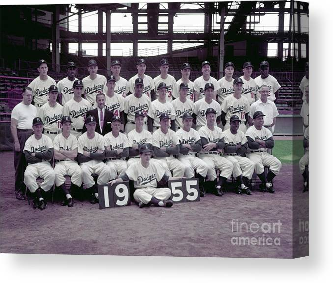 Sandy Koufax Canvas Print featuring the photograph 1955 Brooklyn Dodgers by Kidwiler Collection