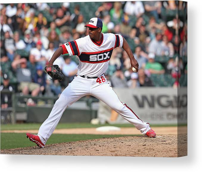 American League Baseball Canvas Print featuring the photograph Cleveland Indians V Chicago White Sox by Jonathan Daniel
