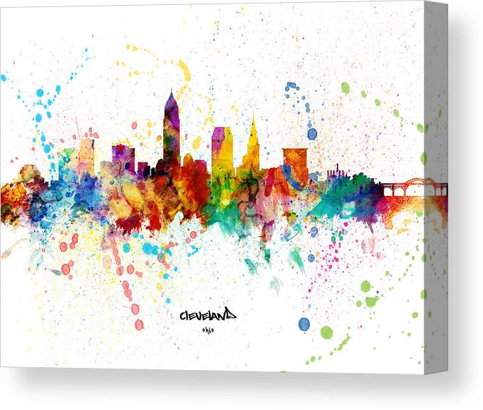 Cleveland Canvas Print featuring the digital art Cleveland Ohio Skyline by Michael Tompsett