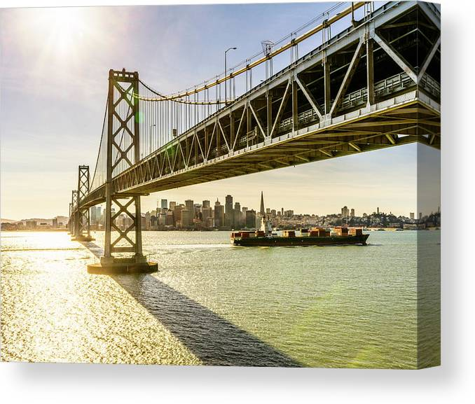 Scenics Canvas Print featuring the photograph Bay Bridge And Skyline Of San Francisco by Chinaface