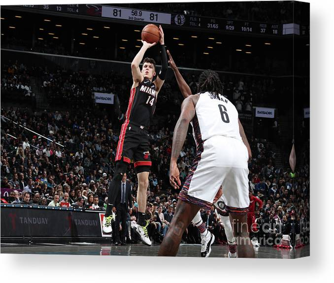 Tyler Herro Canvas Print featuring the photograph Miami Heat V Brooklyn Nets by Nathaniel S. Butler