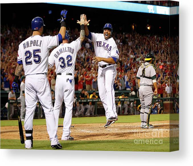 American League Baseball Canvas Print featuring the photograph Oakland Athletics V Texas Rangers by Rick Yeatts