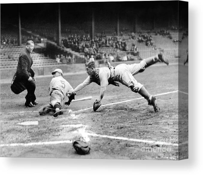 Catching Canvas Print featuring the photograph National Baseball Hall Of Fame Library by National Baseball Hall Of Fame Library