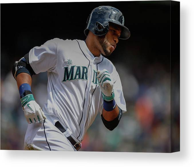 American League Baseball Canvas Print featuring the photograph Cleveland Indians V Seattle Mariners by Otto Greule Jr