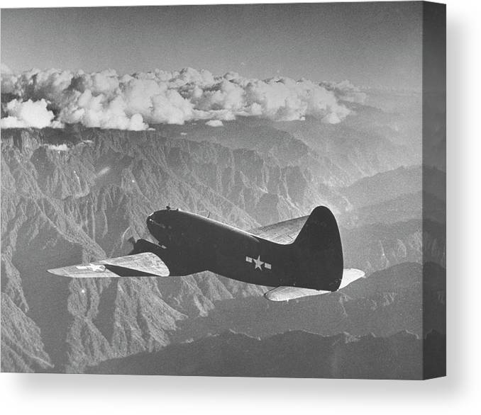 Himalayas Canvas Print featuring the photograph American C-46 Transport Flying The Hump by William Vandivert