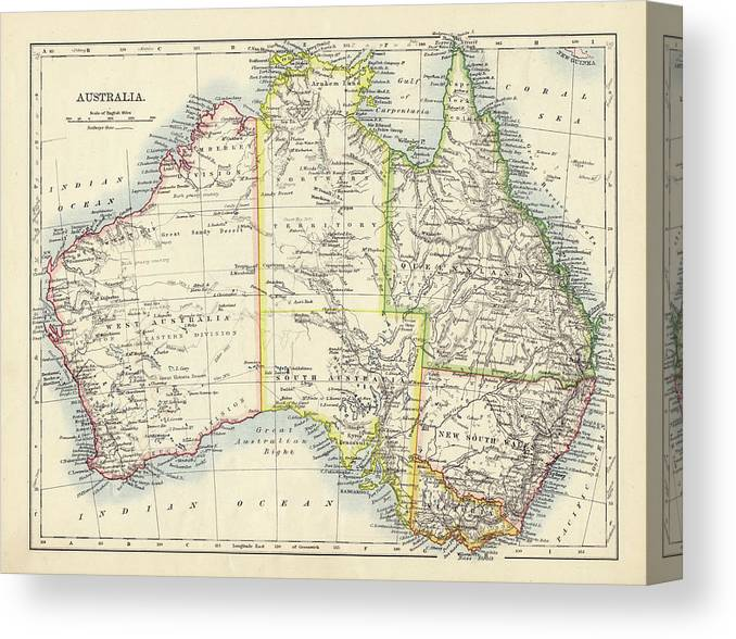 19th Century Style Canvas Print featuring the photograph Antique Map Of Australia by Nicholas Free