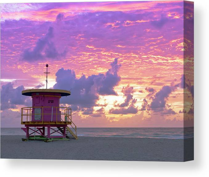 Outdoors Canvas Print featuring the photograph Art Deco Style Lifeguard Station At by Cosmo Condina