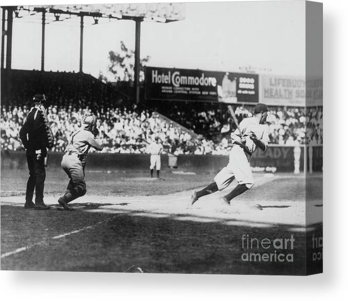 American League Baseball Canvas Print featuring the photograph Babe Ruth Smashing 1920 by Transcendental Graphics