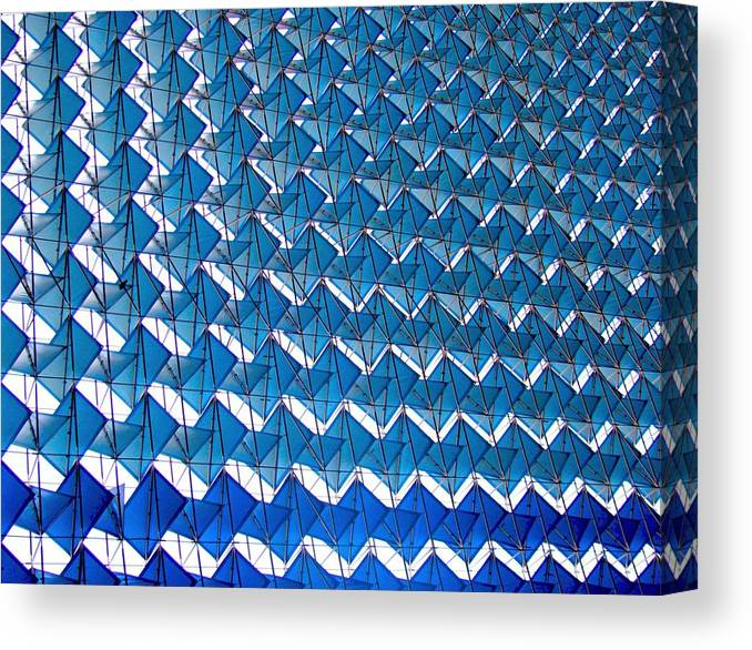 New Delhi Canvas Print featuring the photograph Blue Abstract Structure Of Geometrical by Baxsyl