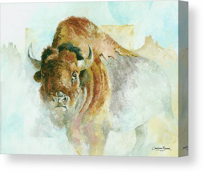 Bison Canvas Print featuring the painting Buffalo Bison by Christiaan Bekker