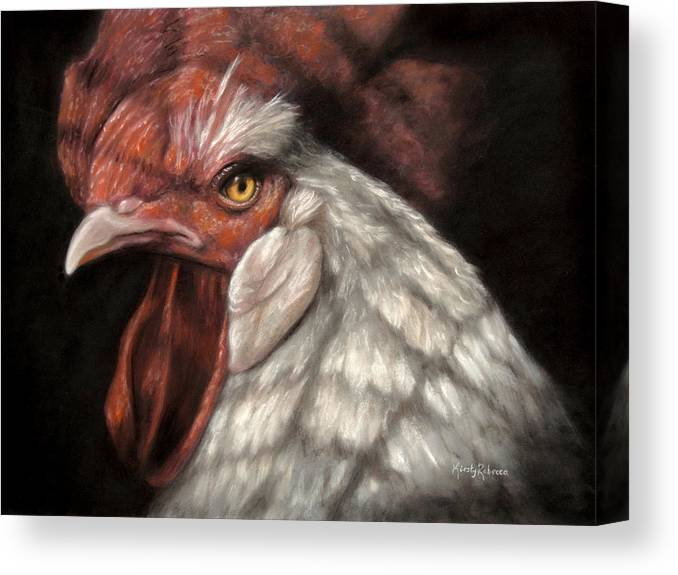Rooster Canvas Print featuring the pastel Caged by Kirsty Rebecca