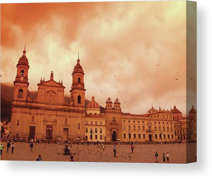 Clock Tower Canvas Print featuring the photograph Cathedral In Bogota, Colombia, South by Medioimages/photodisc
