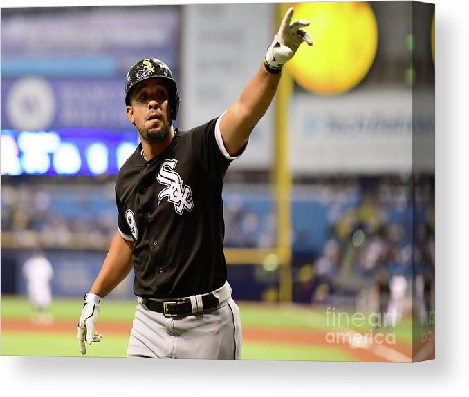 Three Quarter Length Canvas Print featuring the photograph Chicago White Sox V Tampa Bay Rays by Julio Aguilar