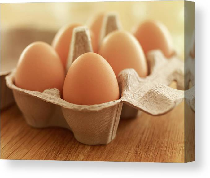 Free Range Canvas Print featuring the photograph Close Up Of Brown Eggs In Carton by Adam Gault