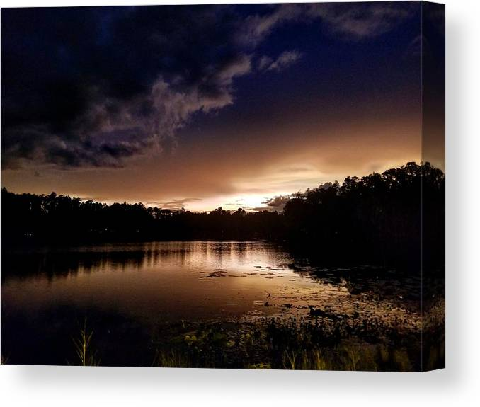 Sunset Canvas Print featuring the photograph Dark Reflections by Shena Sanders
