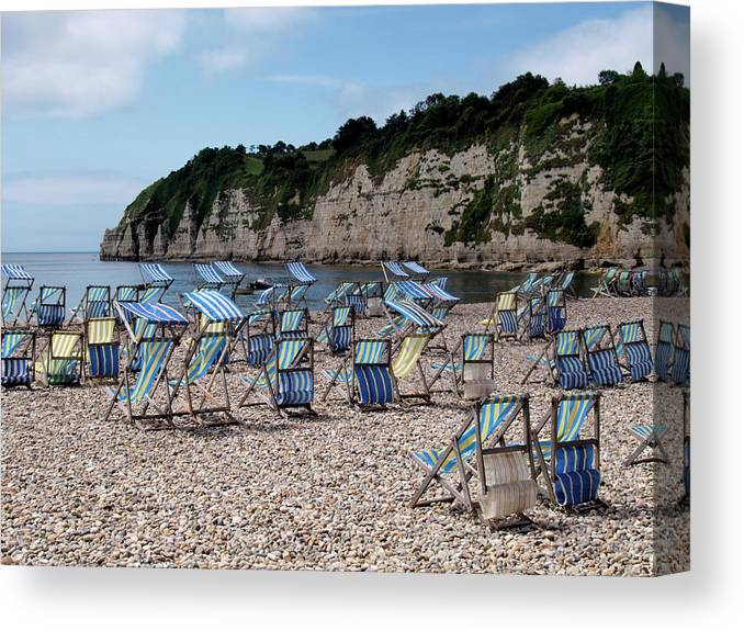 Tranquility Canvas Print featuring the photograph Deckchairs At Beer, Devon, Uk 2013 by Nik Taylor
