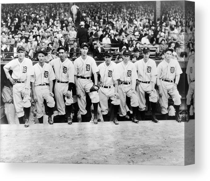 People Canvas Print featuring the photograph Detroit Tigers 1935 Pitching Staff At by Fpg