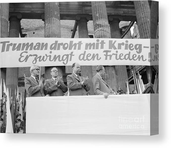 People Canvas Print featuring the photograph East German Ministers Applauding by Bettmann