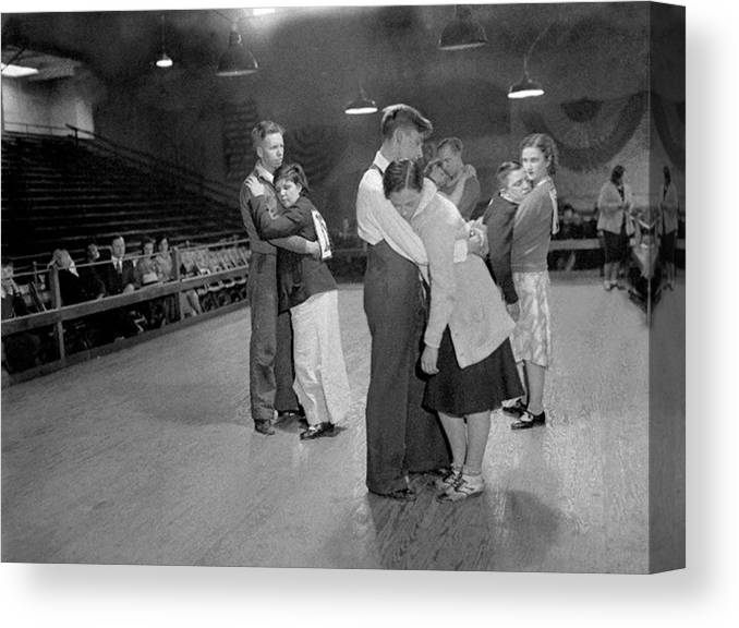 1930-1939 Canvas Print featuring the photograph Exhausted Contestants Try To Keep by New York Daily News Archive