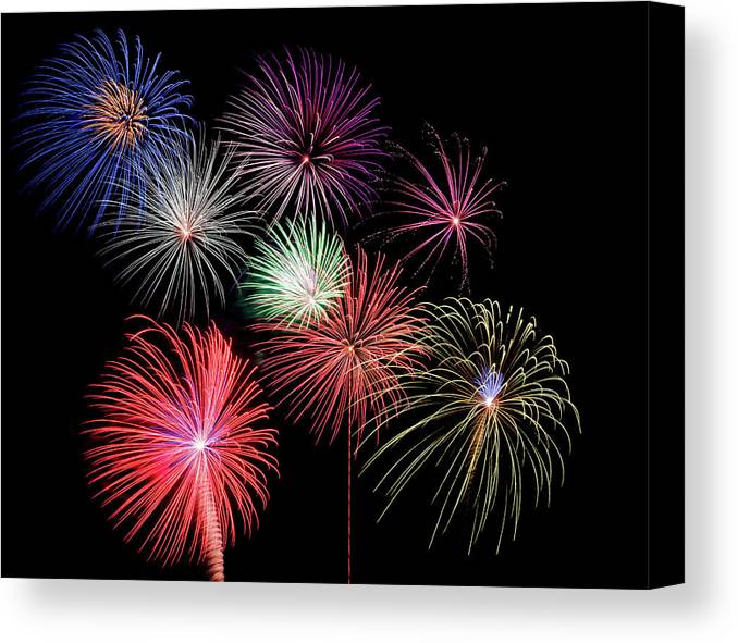 Firework Display Canvas Print featuring the photograph Fireworks by Michael Parrish Photography