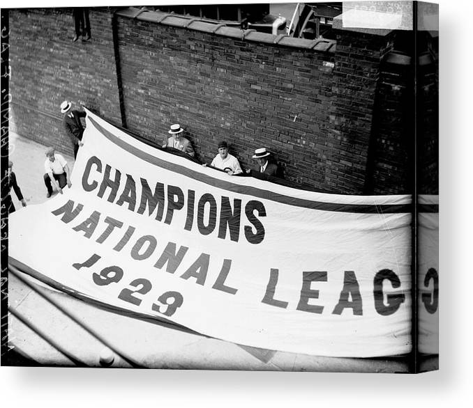 People Canvas Print featuring the photograph Flag Commemorating The Chicago Cubs by Chicago History Museum