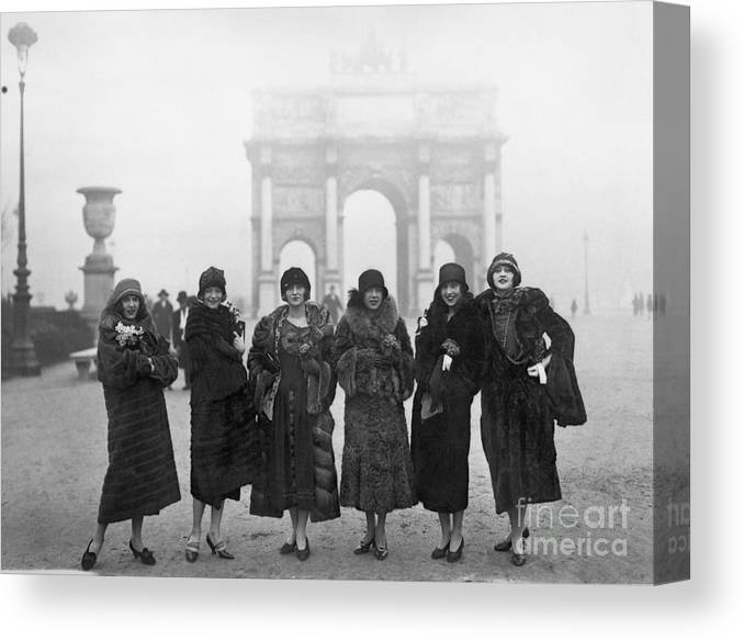 People Canvas Print featuring the photograph Follies Beauties Score Hit In France by Bettmann