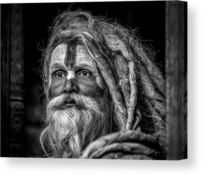 Nepal Canvas Print featuring the photograph Ganga Das Baba by Els Keurlinckx