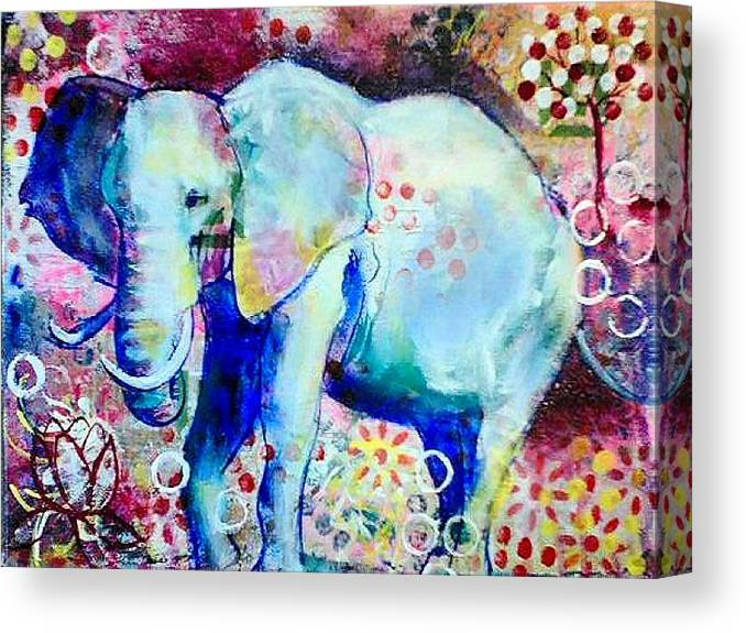 Elephant Canvas Print featuring the painting Glory by Goddess Rockstar
