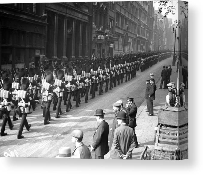 Marching Canvas Print featuring the photograph Guards In City by Fox Photos