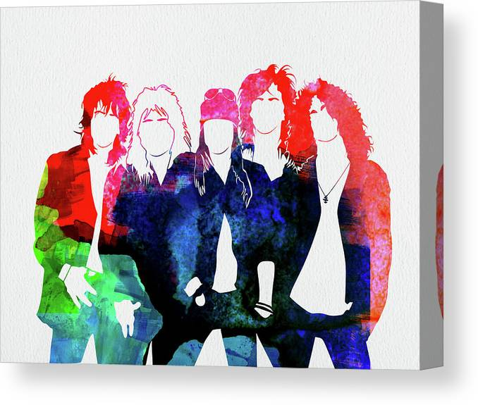 Guns N' Roses Canvas Print featuring the mixed media Guns N' Roses Watercolor by Naxart Studio