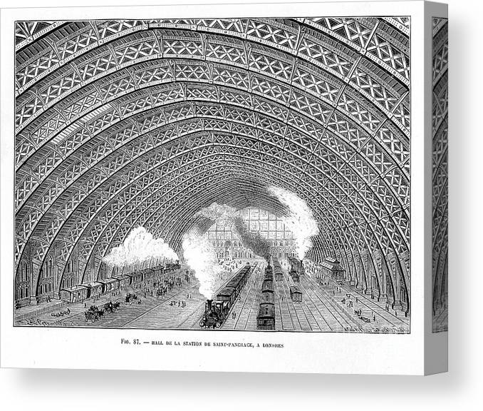 Civil Engineering Canvas Print featuring the drawing Interior Of St Pancras Railway Station by Print Collector