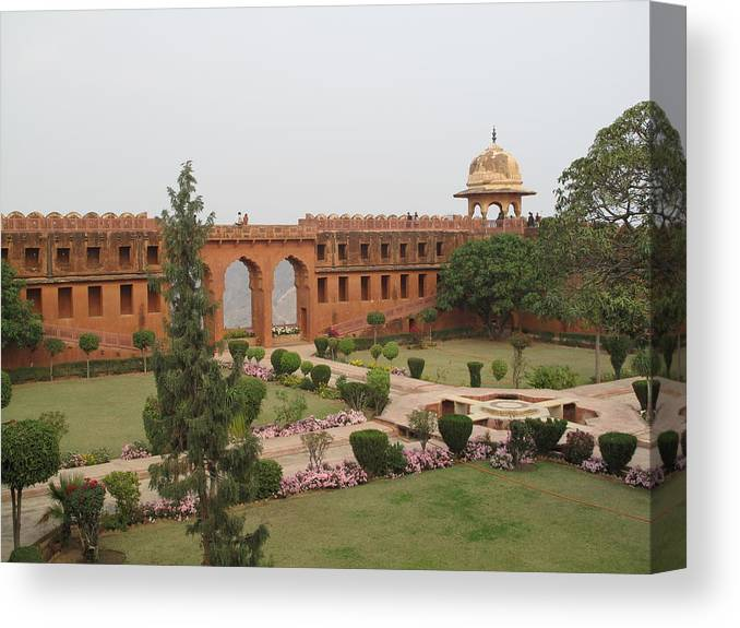 Arch Canvas Print featuring the photograph Jaigarh Fort, Amer, Jaipur, Rajasthan by Marianna Sulic
