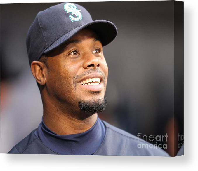 American League Baseball Canvas Print featuring the photograph Ken Griffey Jr. Retires From Seattle by Otto Greule Jr