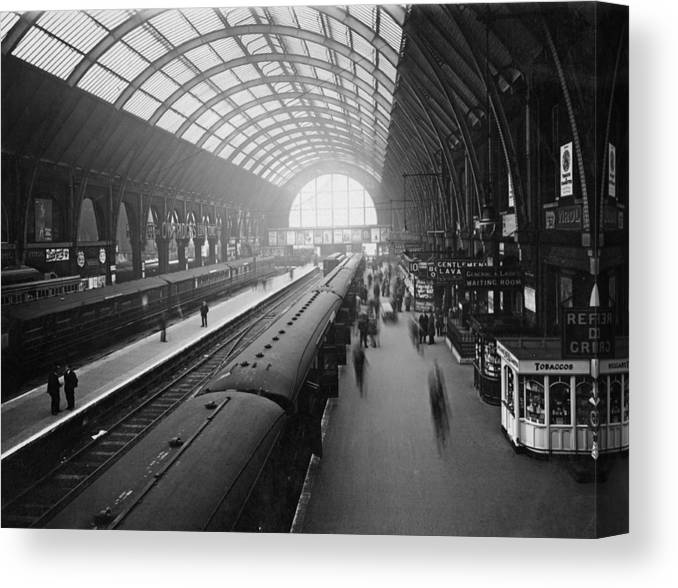 Passenger Train Canvas Print featuring the photograph Kings Cross Station by Macgregor