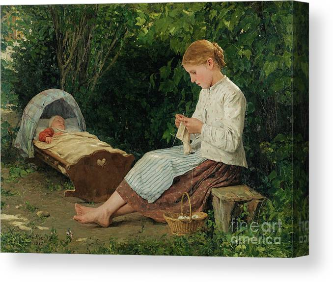 Toddler Canvas Print featuring the drawing Knitting Girl Watching The Toddler by Heritage Images