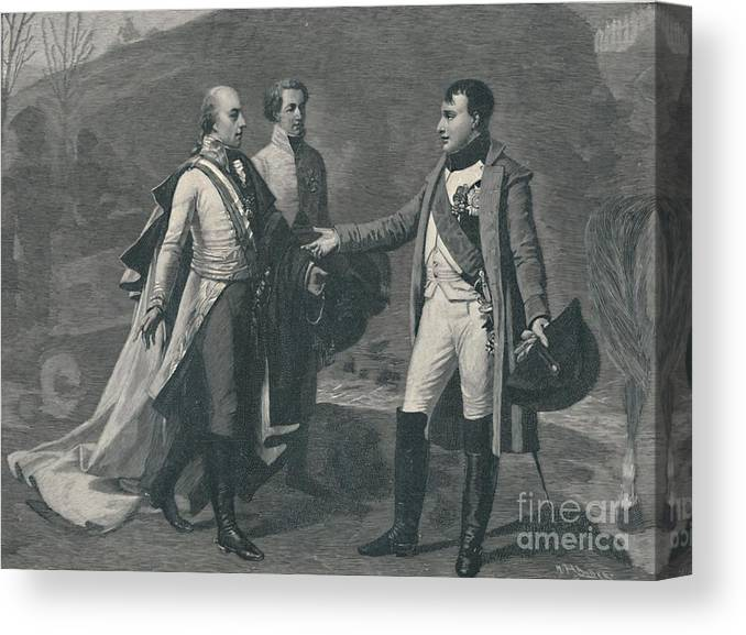 Engraving Canvas Print featuring the drawing Meeting Of Napoleon And Francis by Print Collector